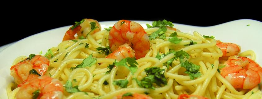 e um simples e delicado spaghetthi al gamberetti